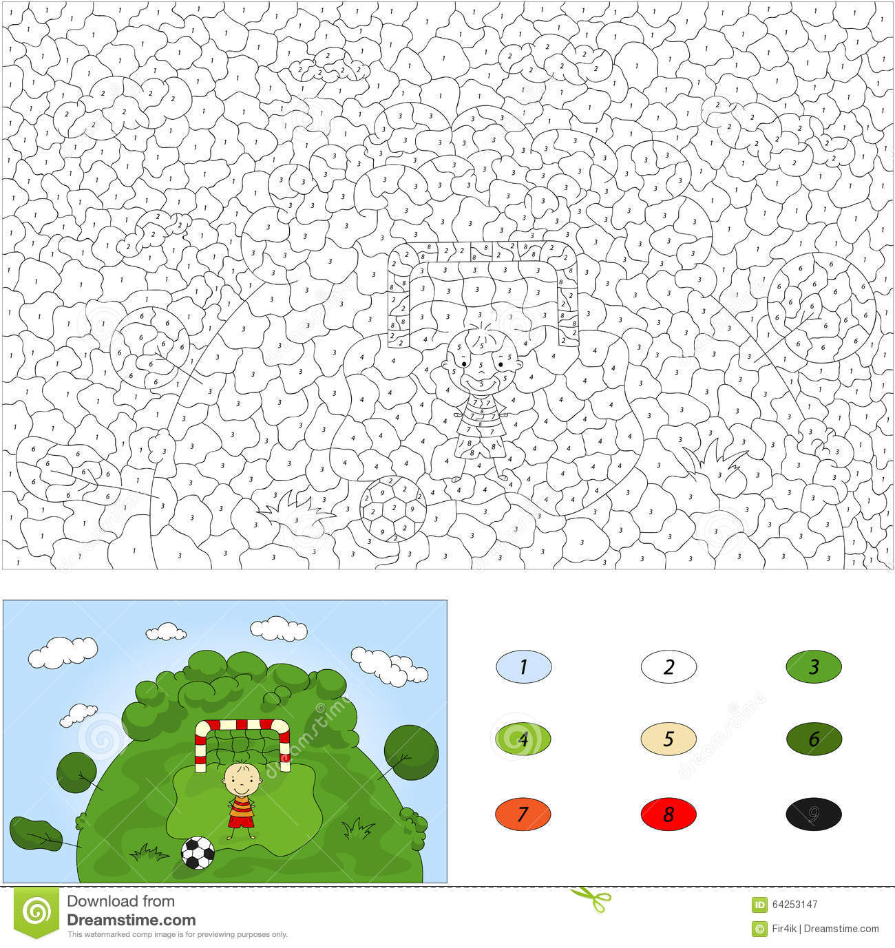 Download Color By Number Educational Game For Kids. A Football Player Sta  Stock Image