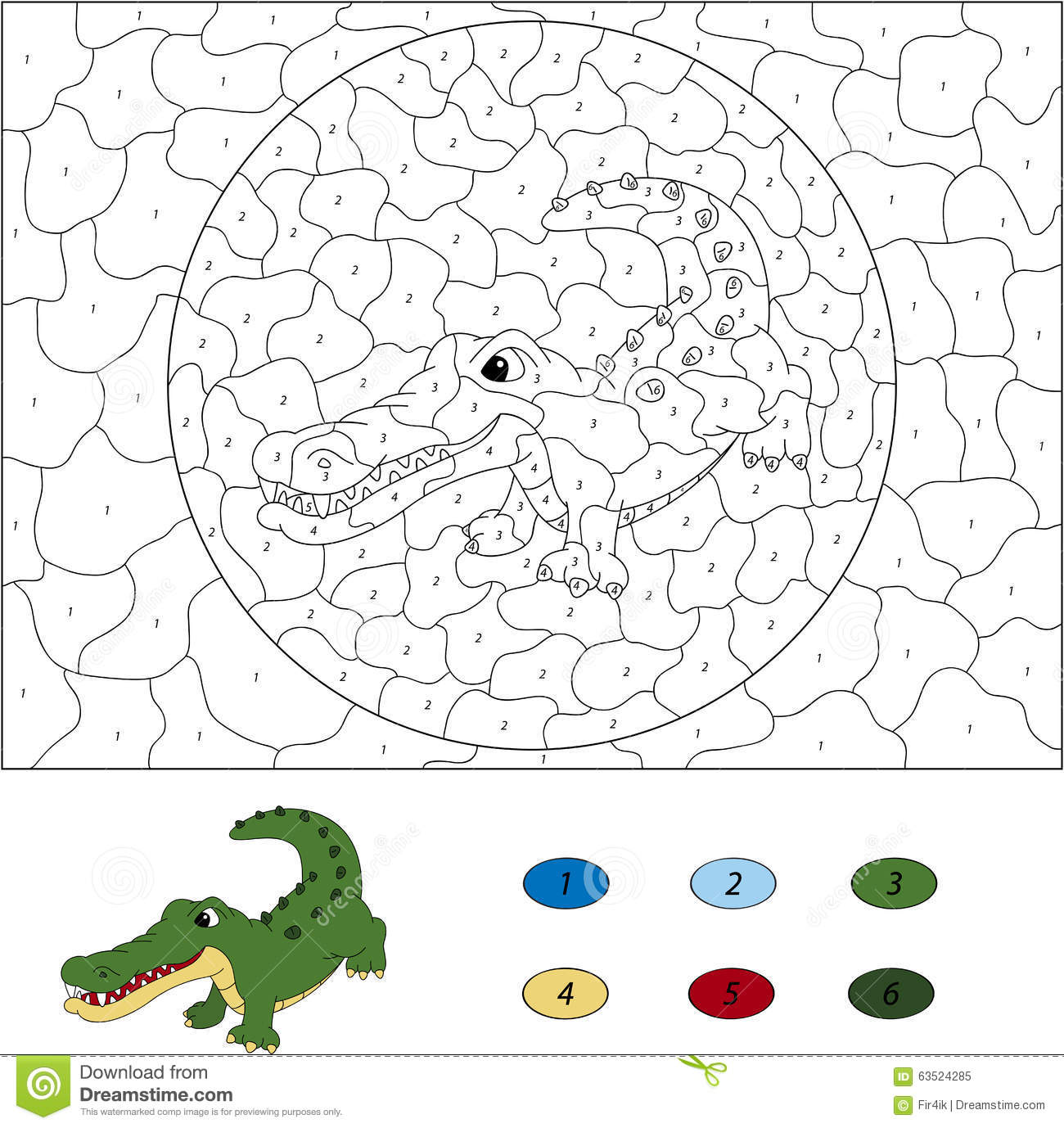 Color by number educational game for kids. Funny cartoon crocodile. Vector illustration