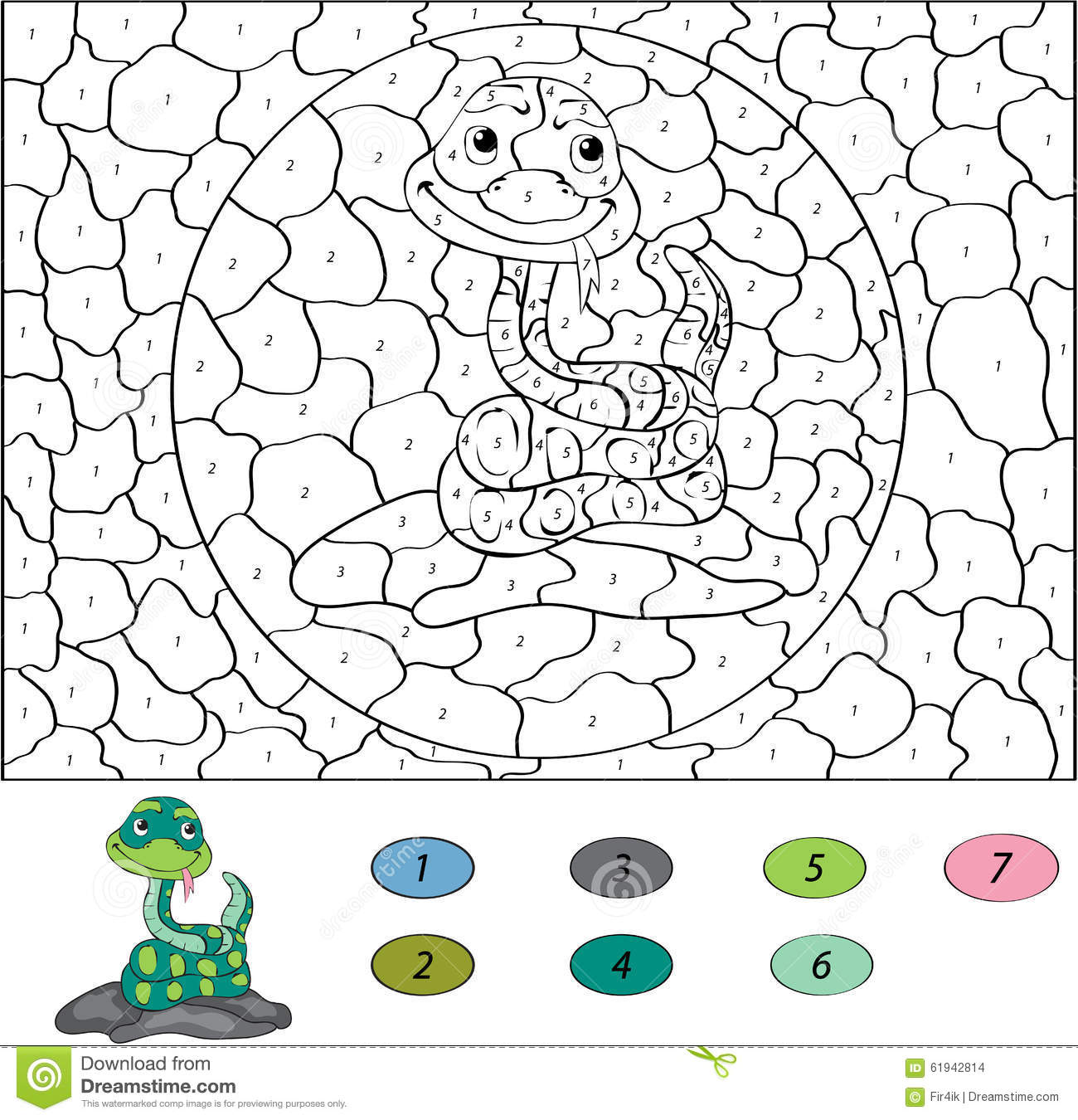 Game color by numbers - Color By Number Educational Game For Kids Funny Cartoon Snake