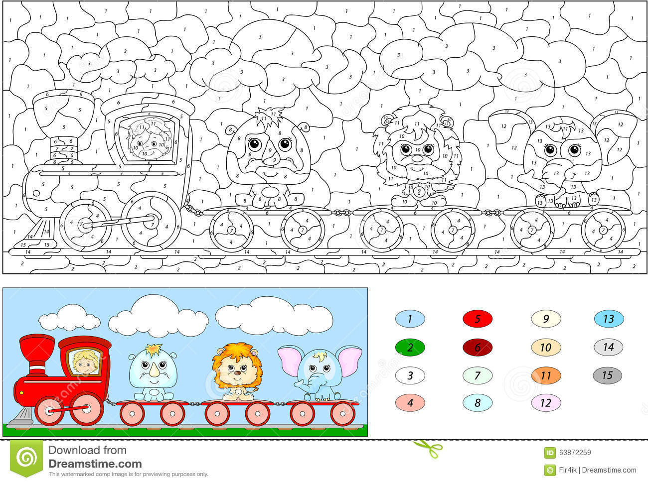 Color By Number Educational Game For Kids. Funny Cartoon Train ...