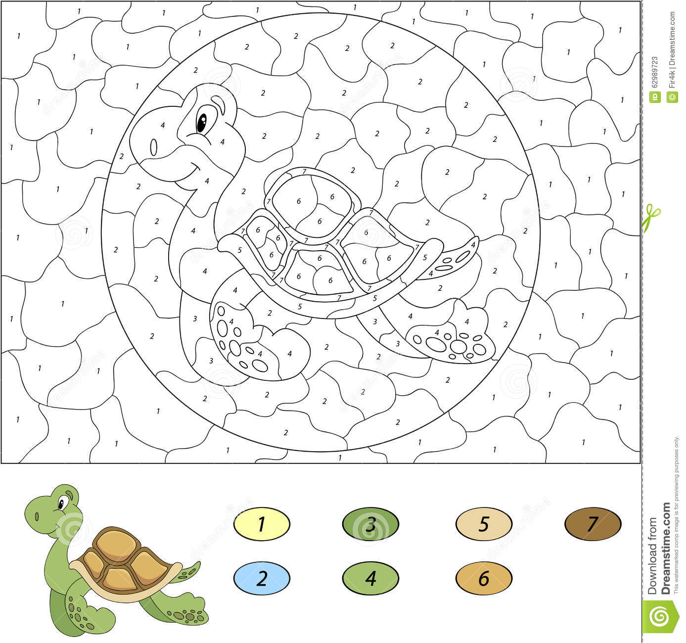 Color By Number Educational Game For Kids. Funny Cartoon Turtle ...