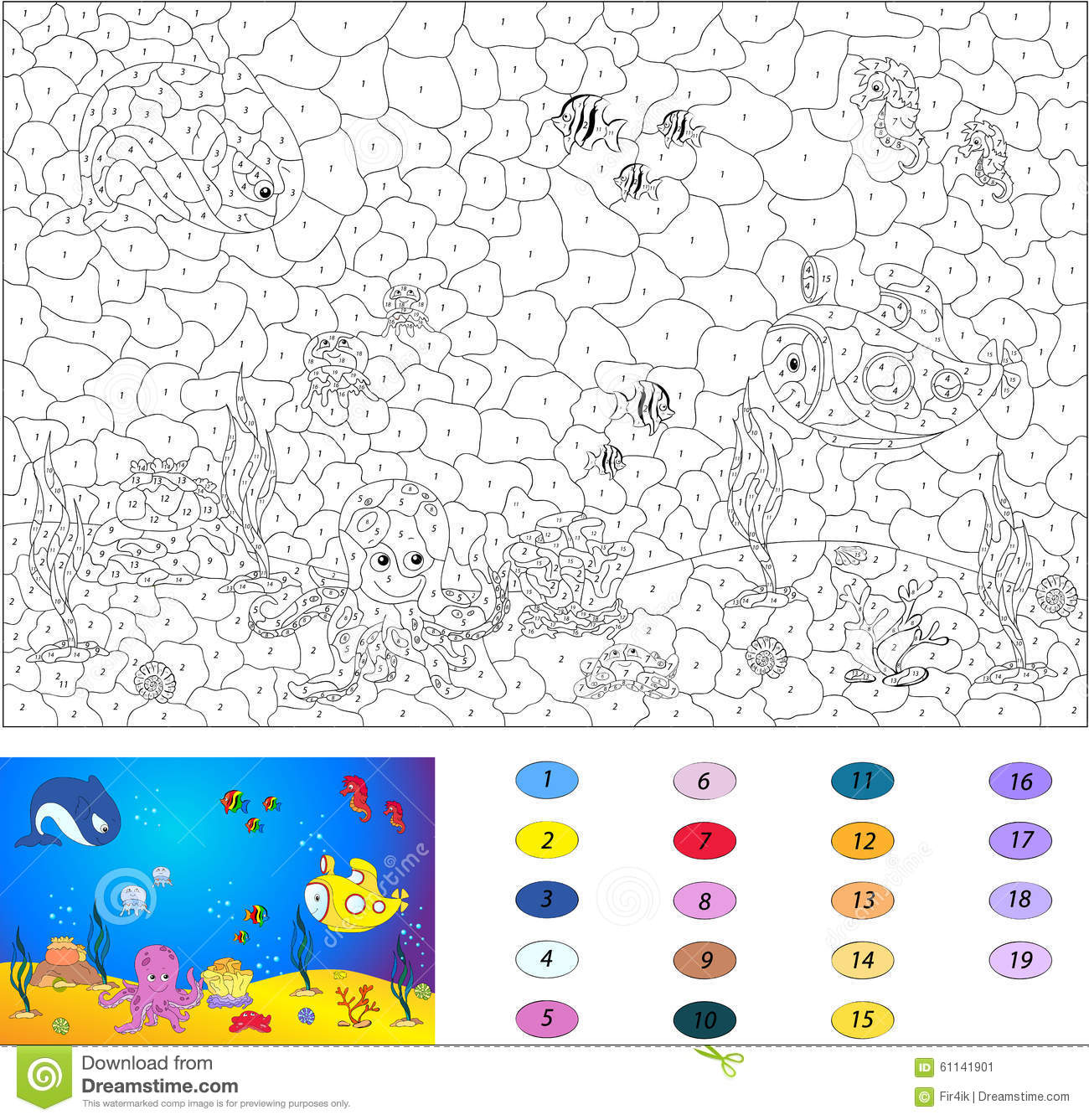 color by number educational game for kids underwater world stock image