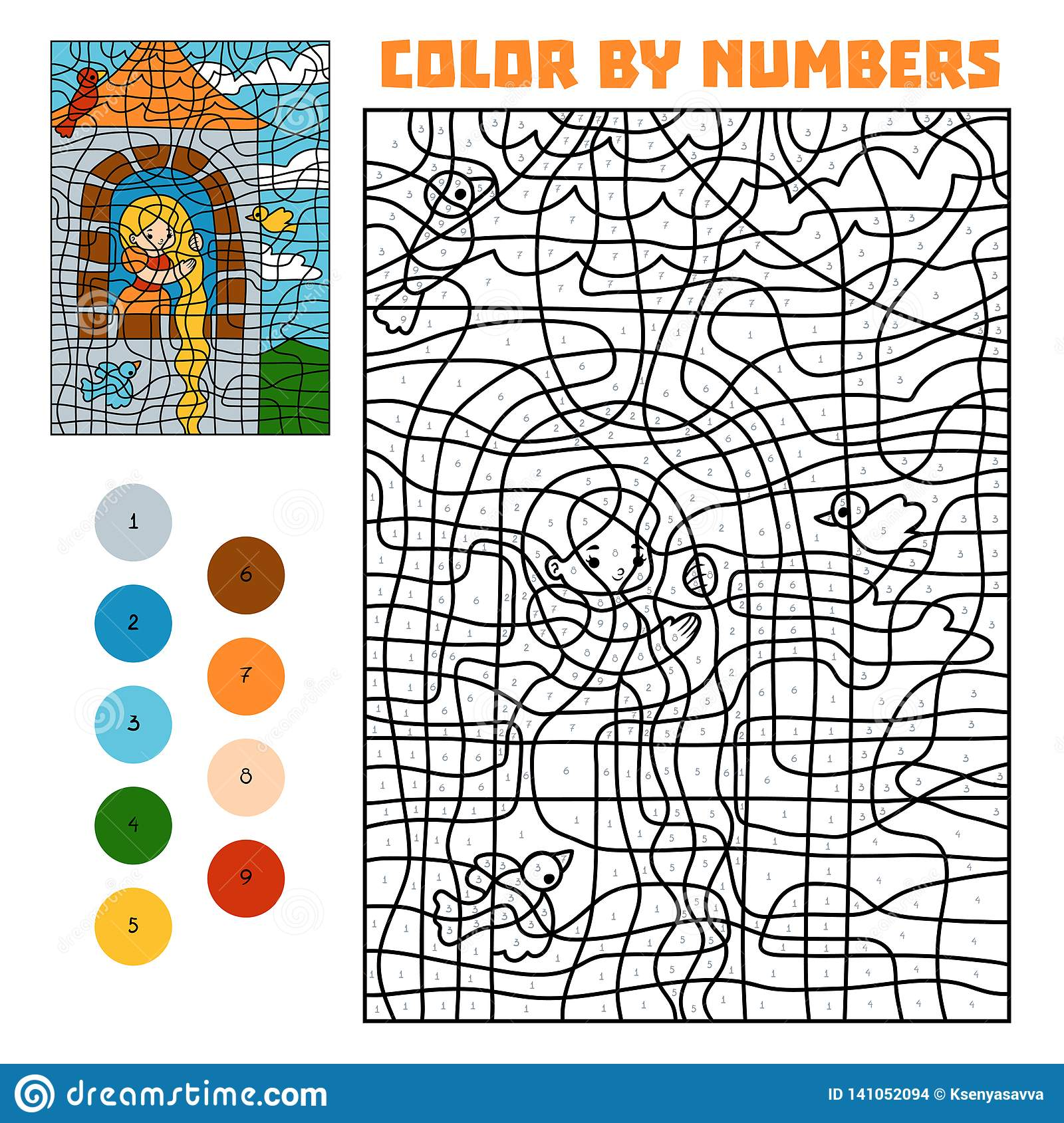 Color by number. Fairy tales. Rapunzel in the tower