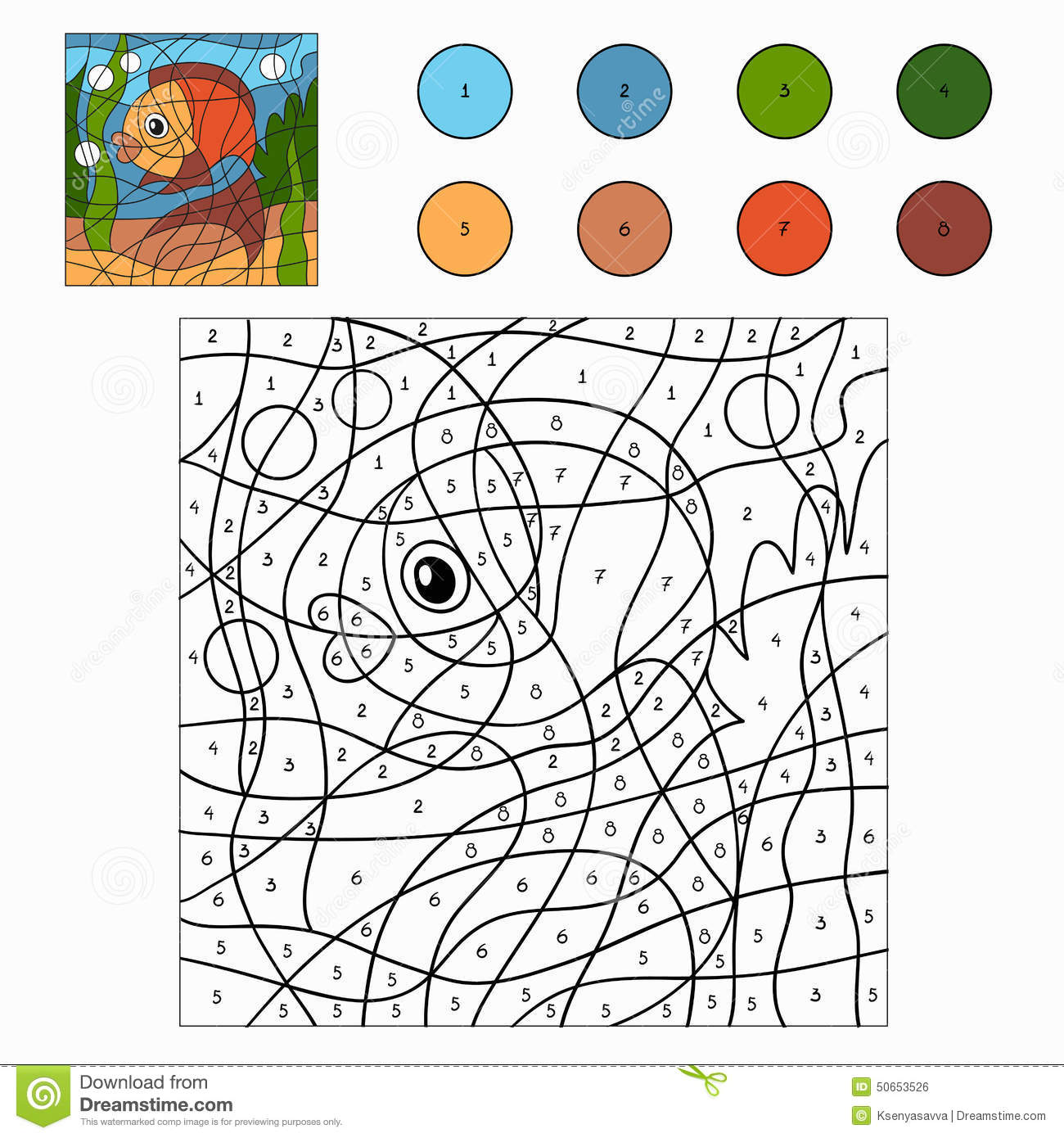 color by number fish stock vector image 50653526