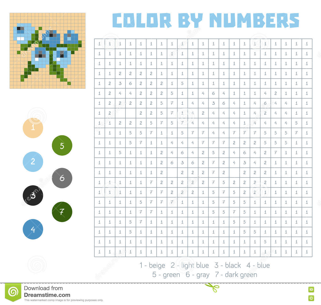 Game color squares - Color By Number Fruits And Vegetables Blueberry