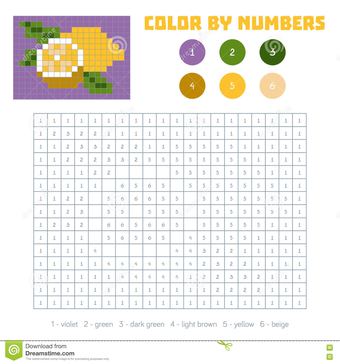 Game color squares - Color By Number Fruits And Vegetables Lemon