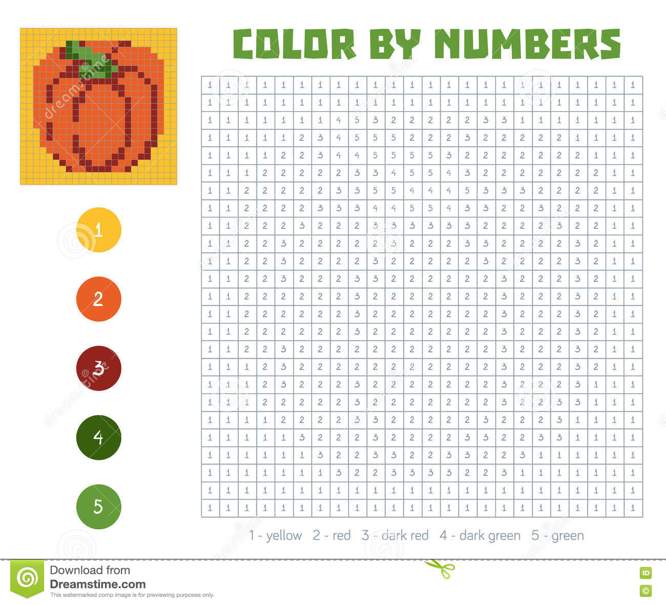 Color By Number, Fruits And Vegetables, Pumpkin Stock Vector ...
