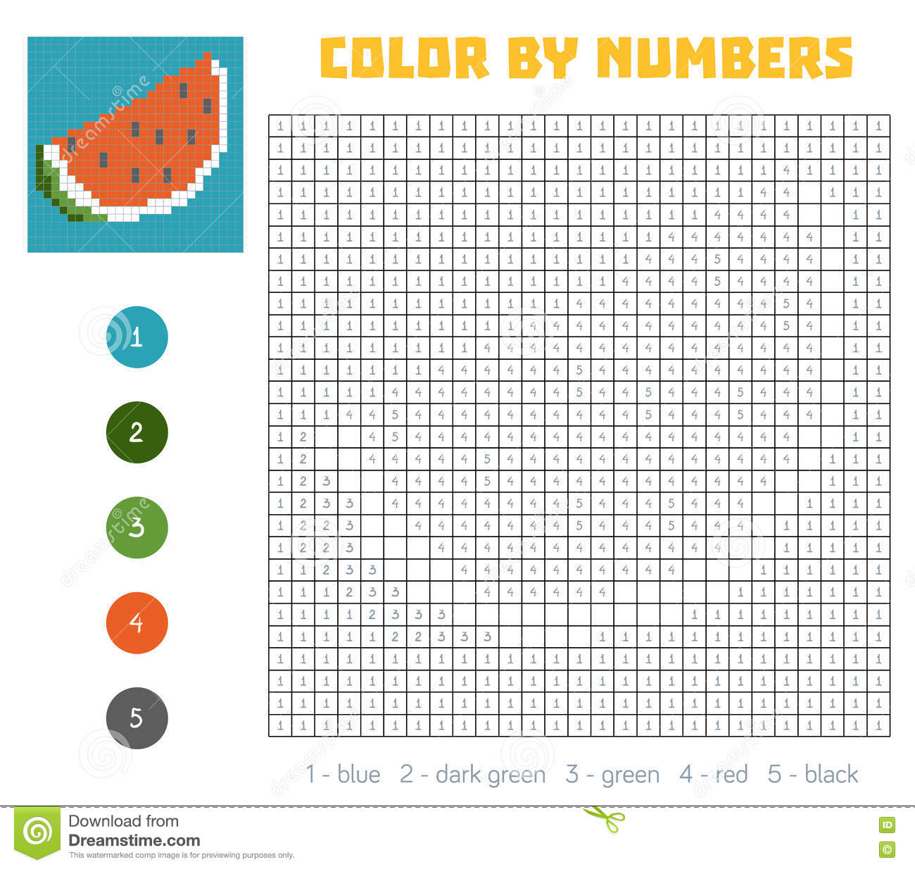 Game color squares - Color By Number Fruits And Vegetables Watermelon