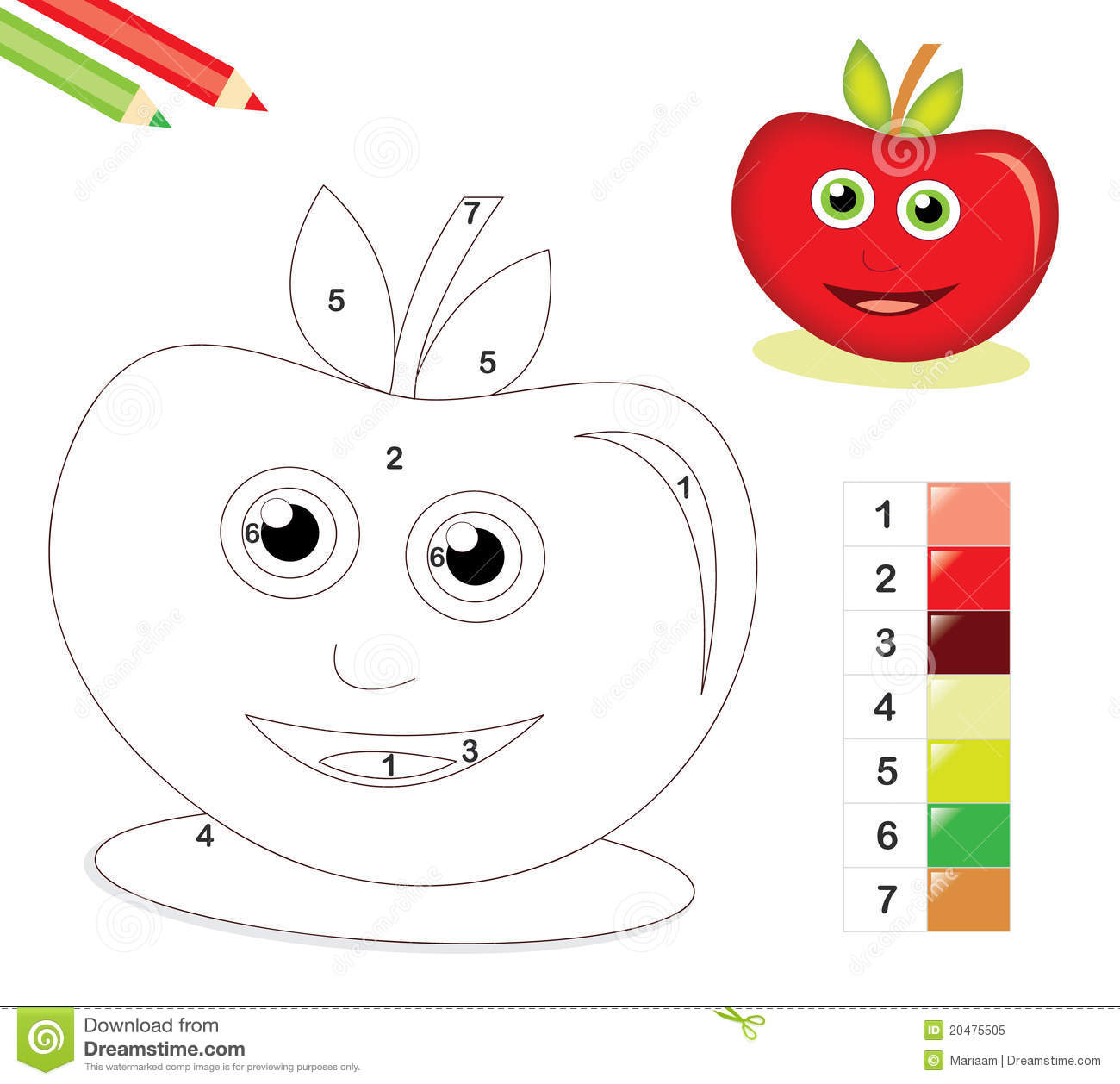 color by number game with apple royalty free stock photo