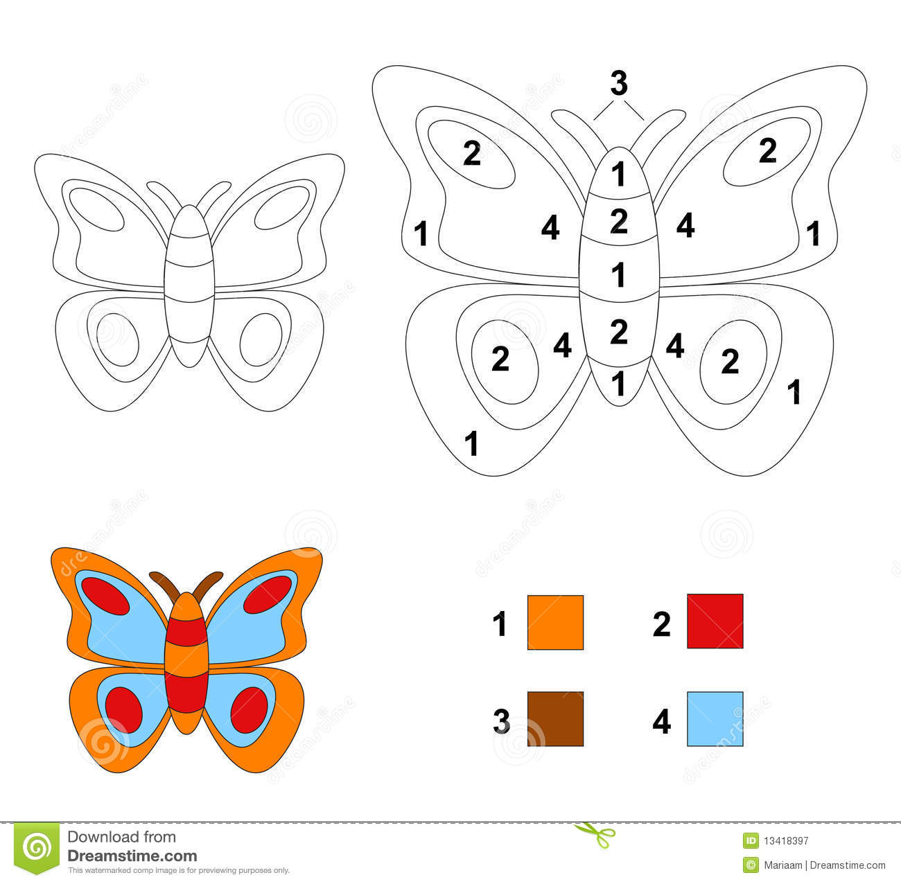 Color By Number Game: The Butterfly Stock Illustration ...