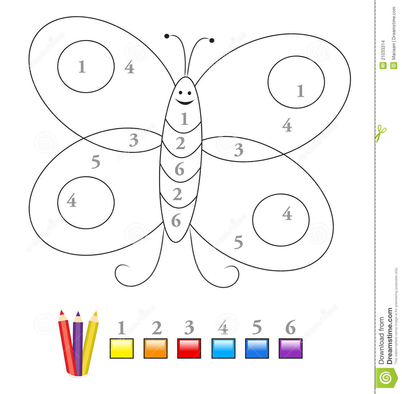 Color By Number Game Butterfly Stock Images Image 21033314