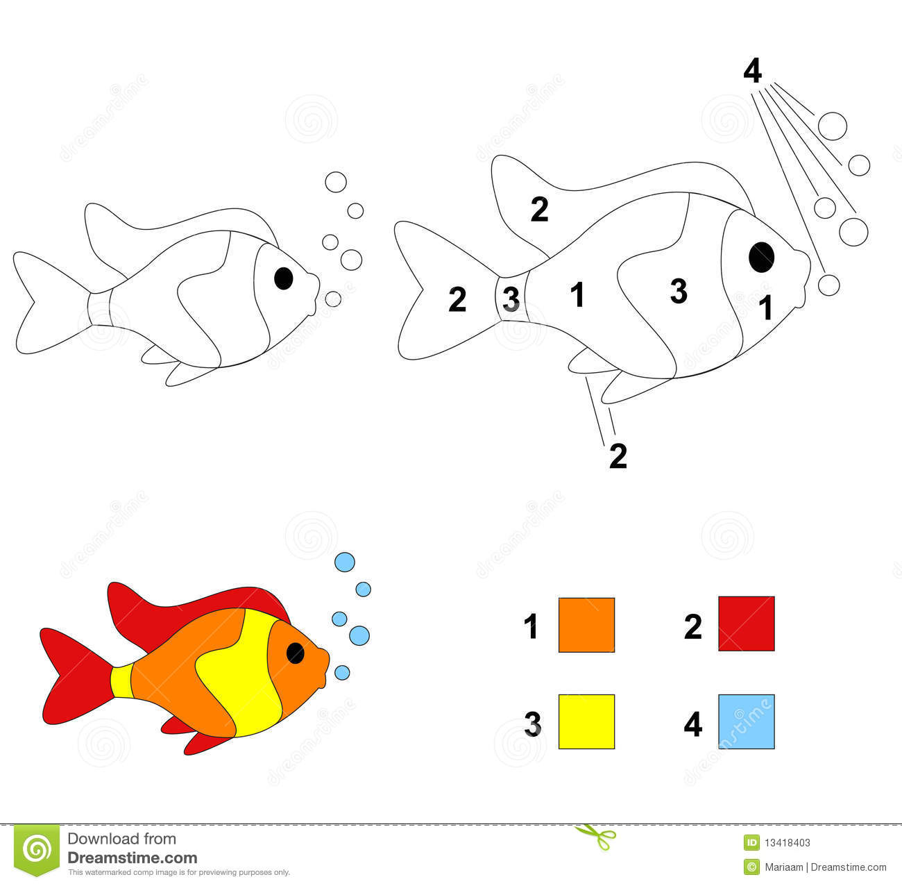 cartoon children color fish game number