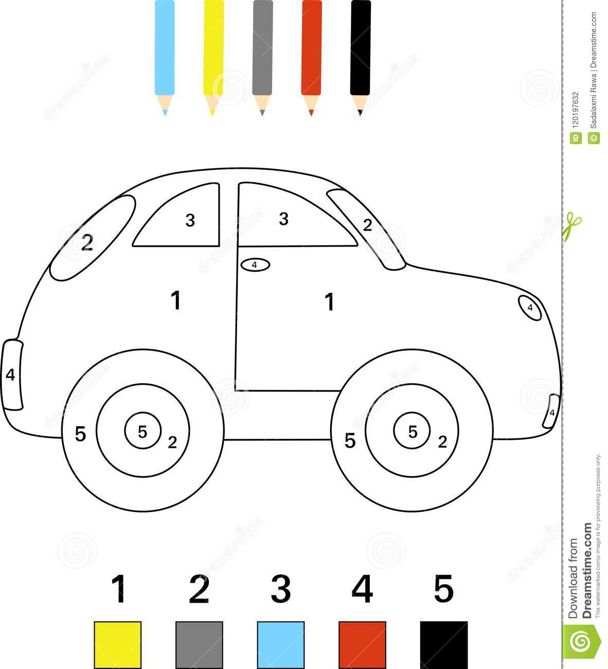 Color By Number Game For Kids Stock Photo - Illustration ...