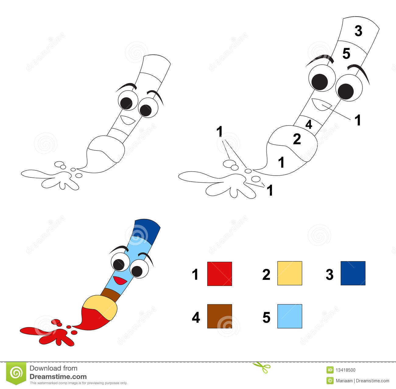 Color By Number Game: The Paintbrush Stock Photo - Image ...
