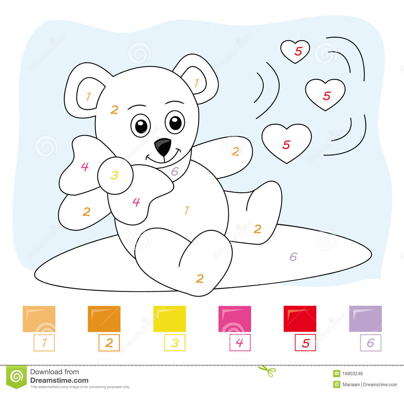 color by number game teddy bear