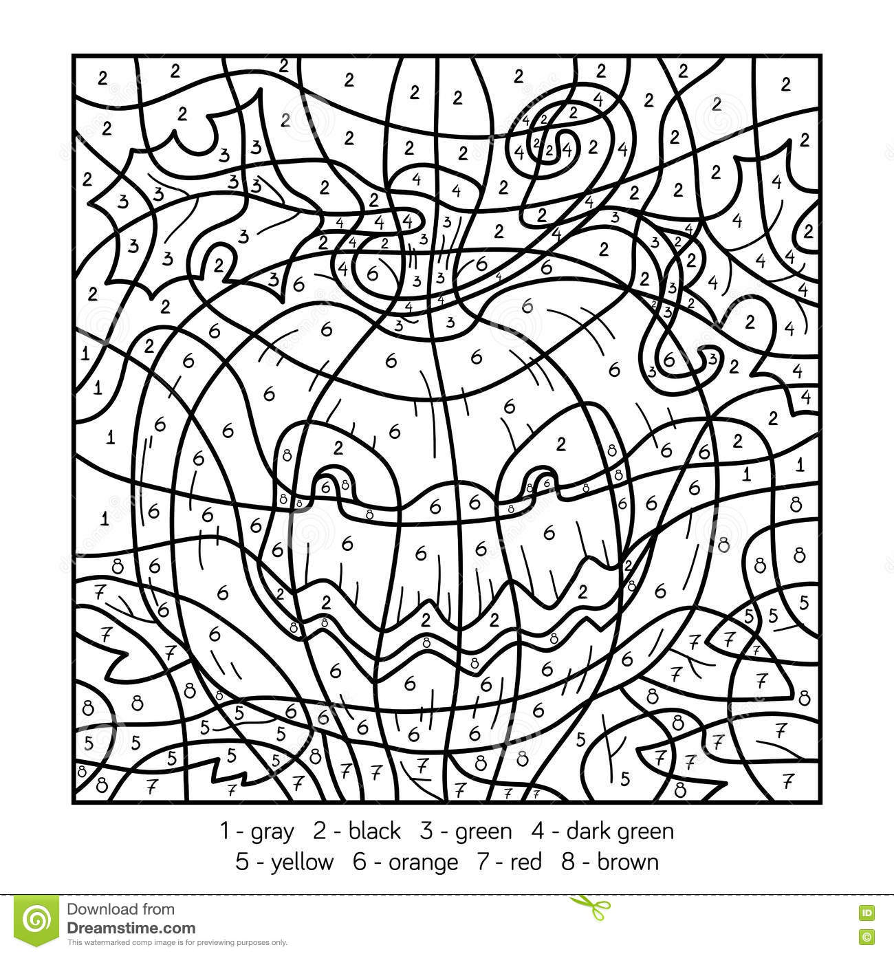halloween coloring pages color by number | Color By Number, Halloween Pumpkin Stock Vector ...