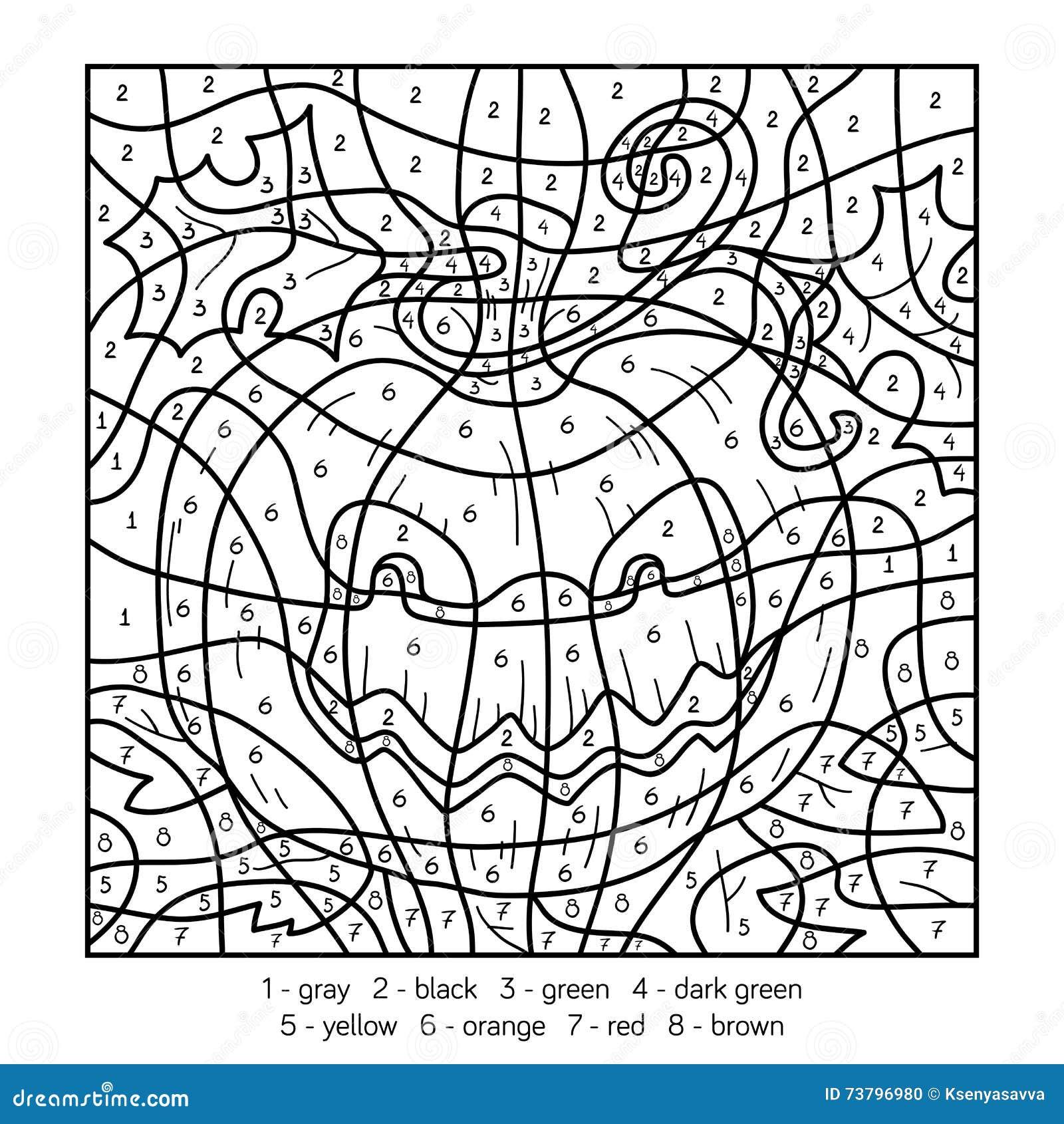 Color by number halloween pumpkin stock vector for Free printable halloween color by number pages