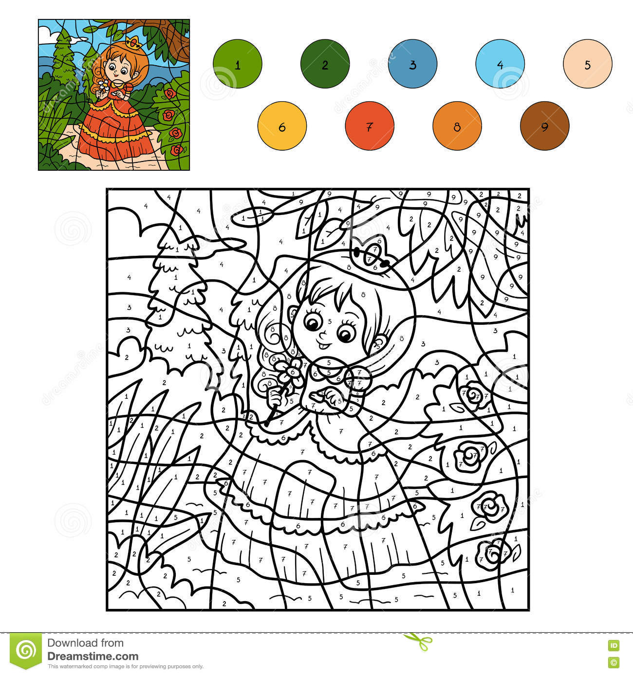 Game color by numbers - Color By Number Little Princess