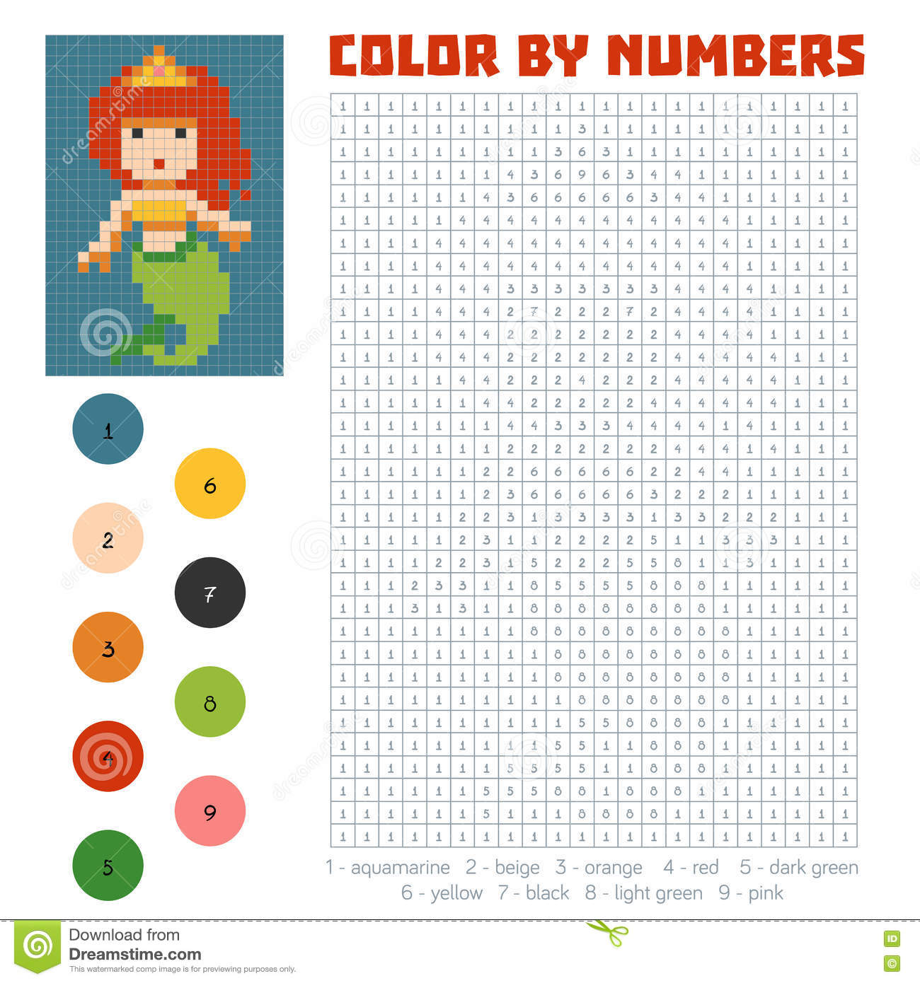 Game color by numbers - Color By Number Mermaid Royalty Free Stock Photo