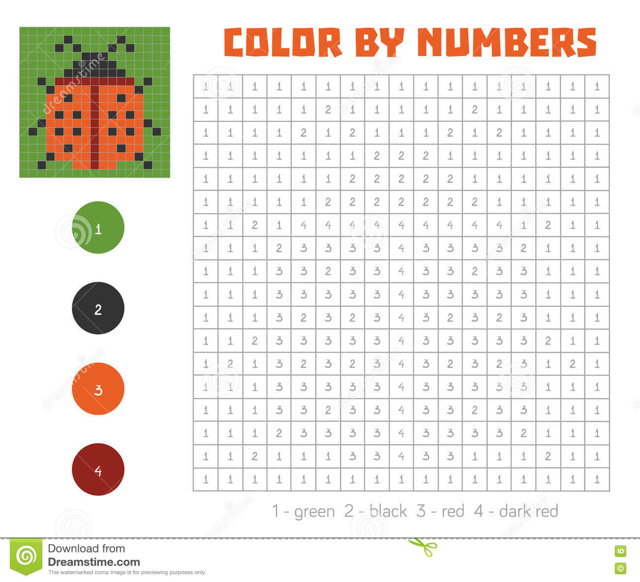 Color By Number With Numbered Squares, Ladybug Stock ...