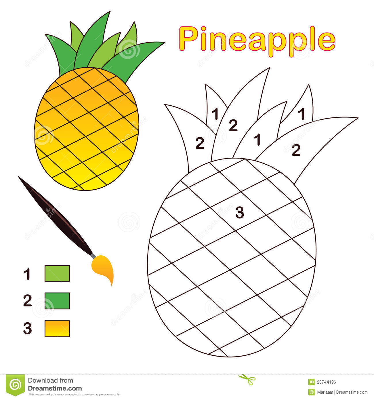 Uncategorized Pineapple Picture To Color color by number pineapple stock vector image of learning 23744196 royalty free photo download pineapple