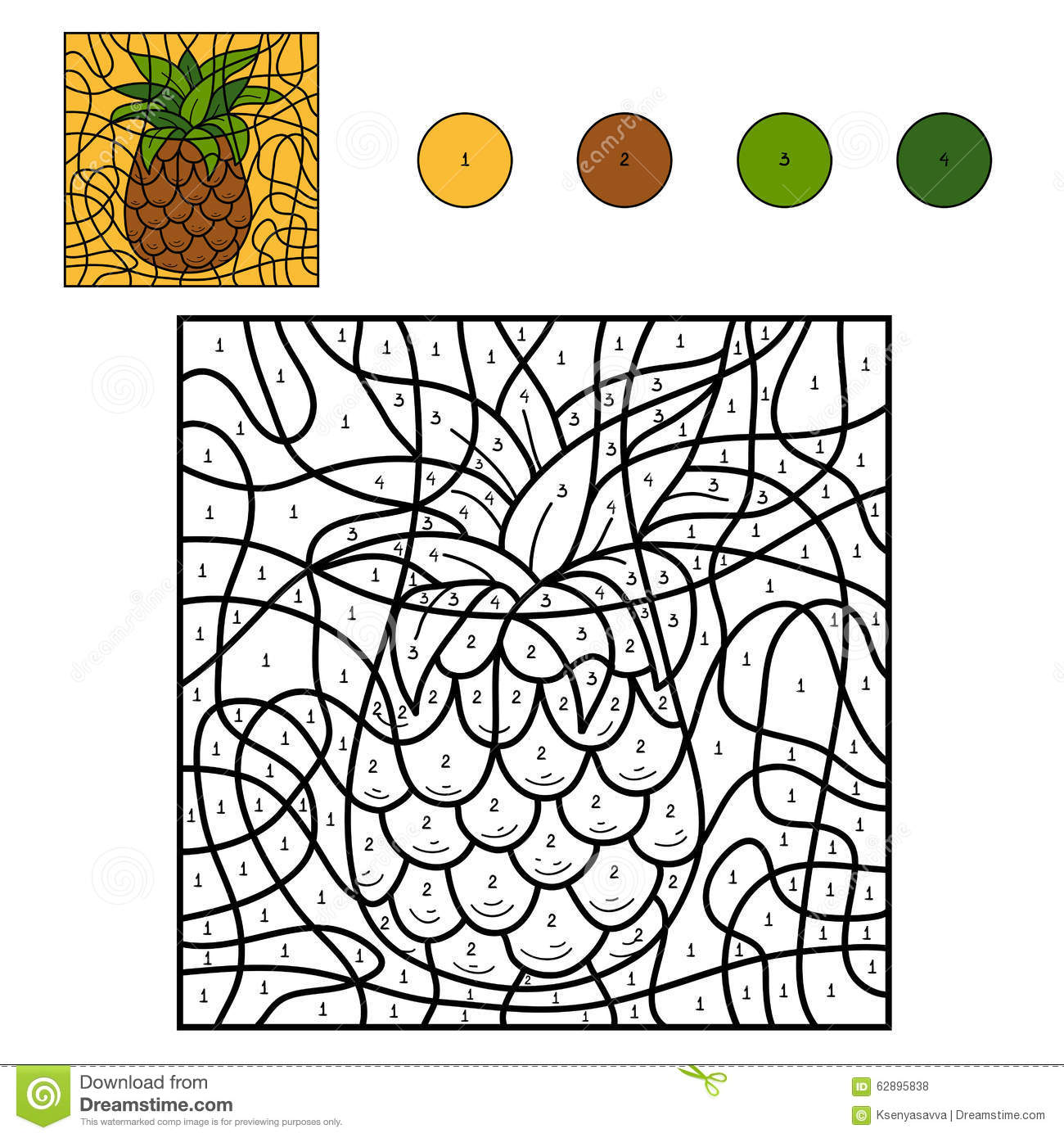 Color by number: pineapple stock vector. Illustration of collection ...