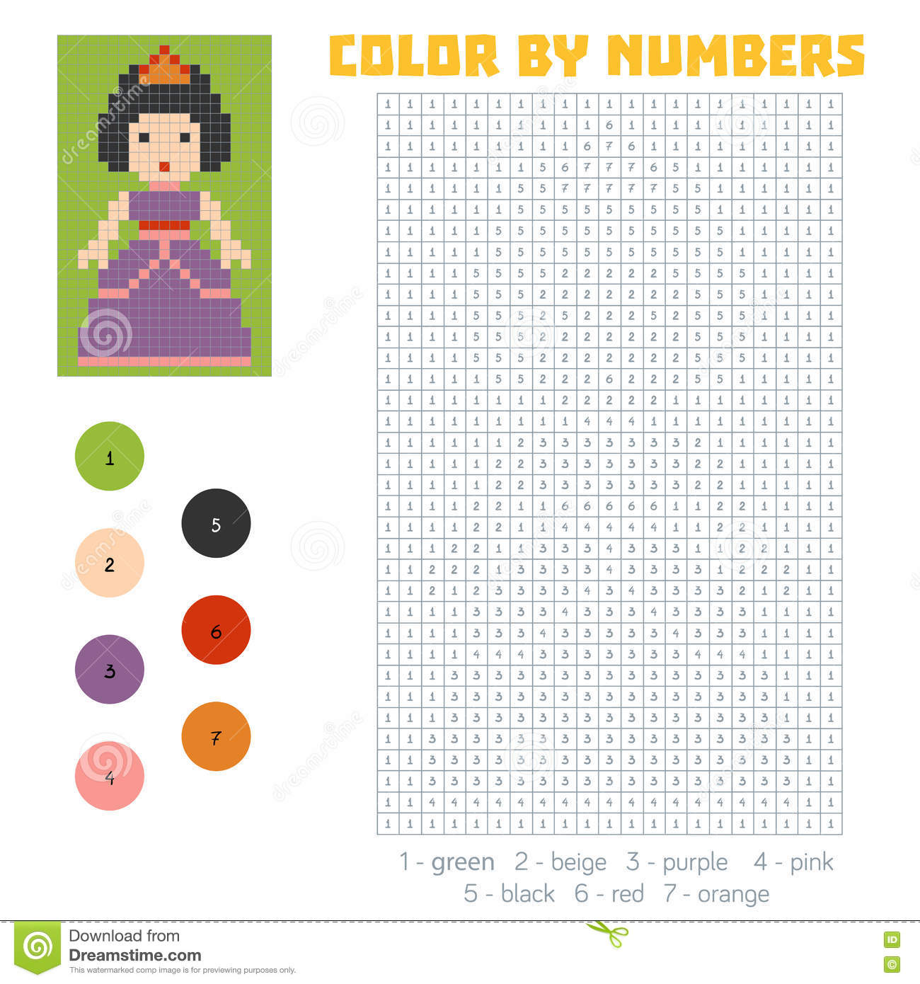 Game color by numbers - Color By Number Princess