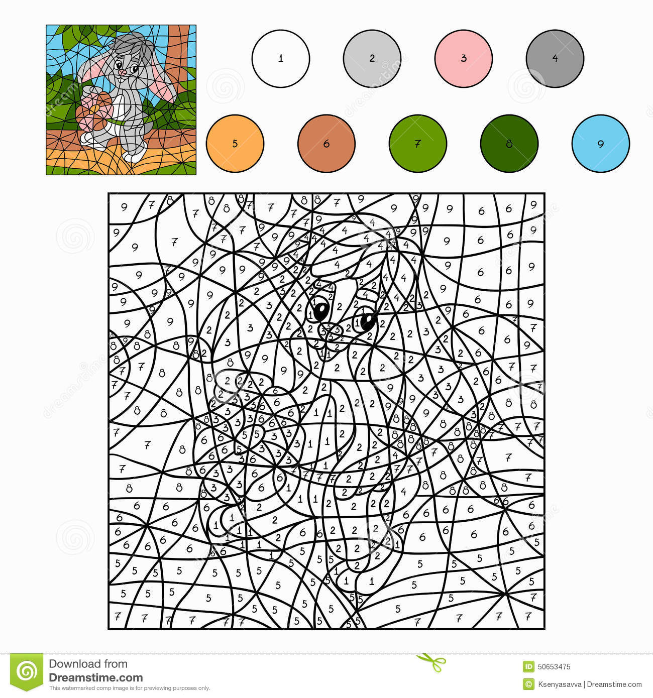 Coloring by numbers for rabbits - Color By Number Rabbit Royalty Free Stock Photo