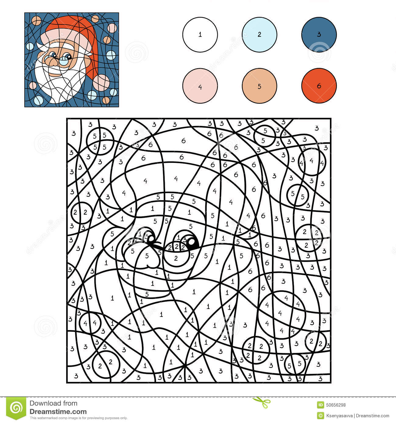 Color By Number (Santa Claus) Stock Vector - Illustration of ...