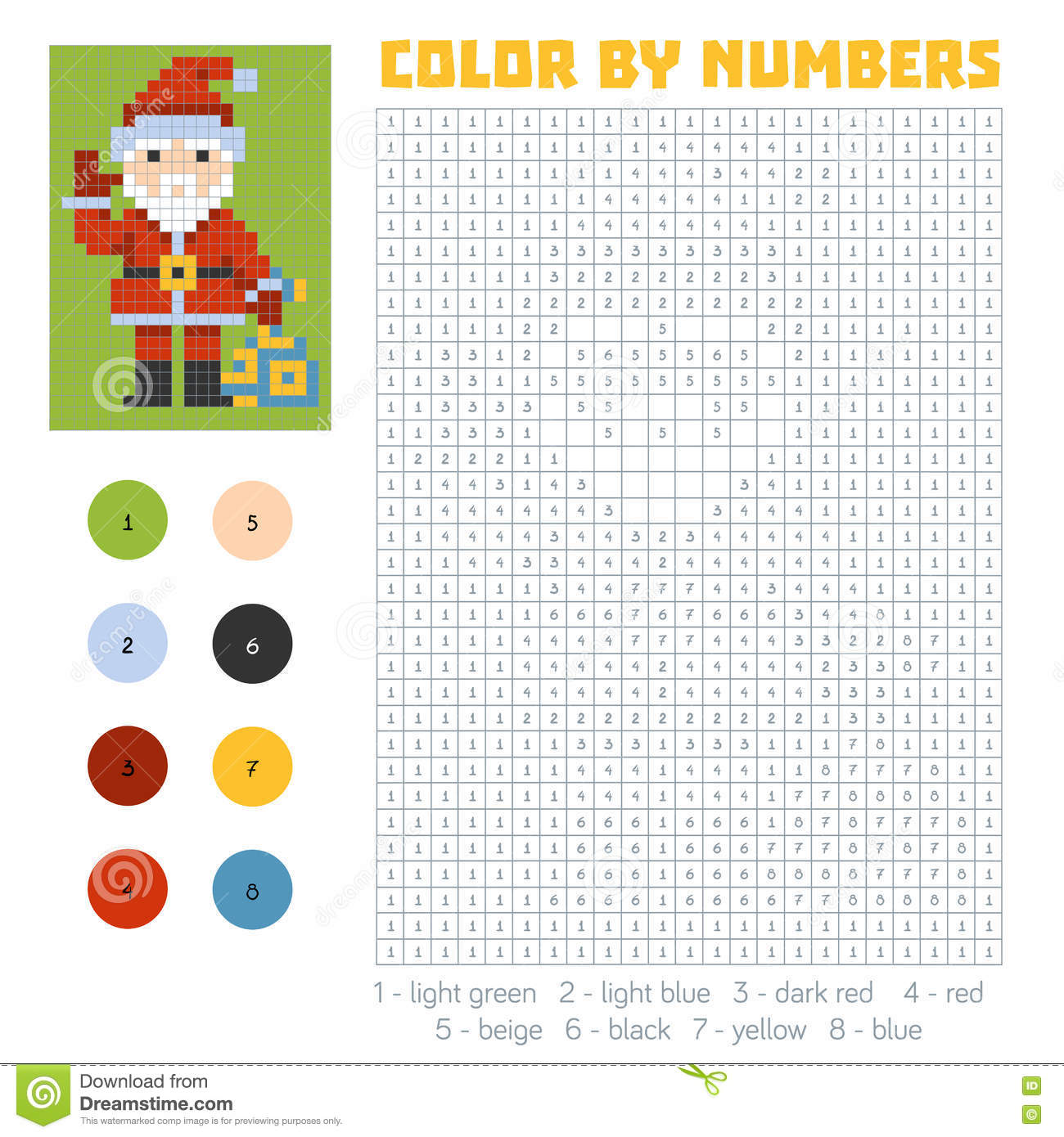 Color By Number, Santa Claus Stock Vector - Illustration of ...