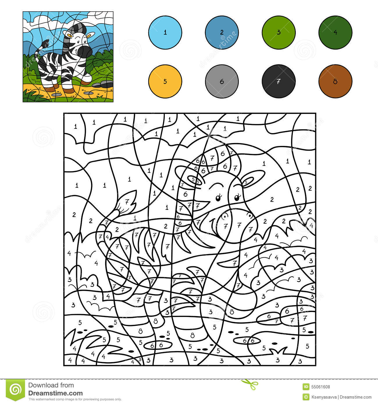 Color by number (zebra) stock vector. Illustration of animal - 55061608