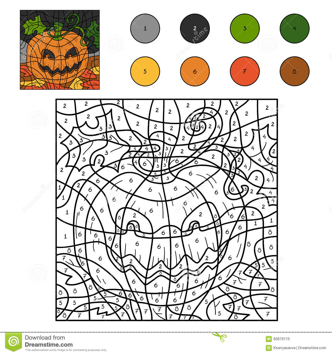 color by numbers halloween pumpkin - Halloween Color By Numbers