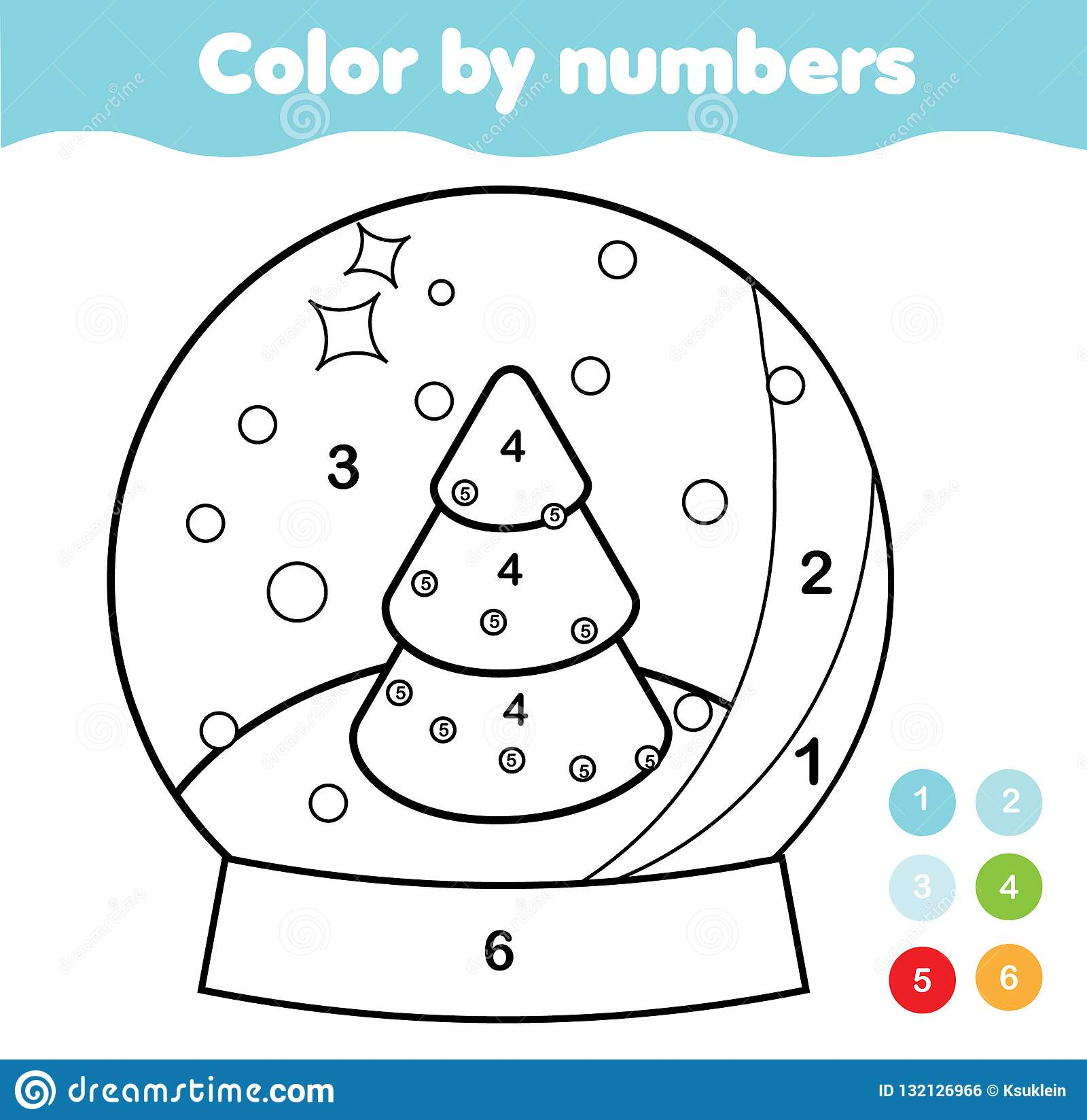 Color By Numbers For Kids Educational Game For Children Christmas