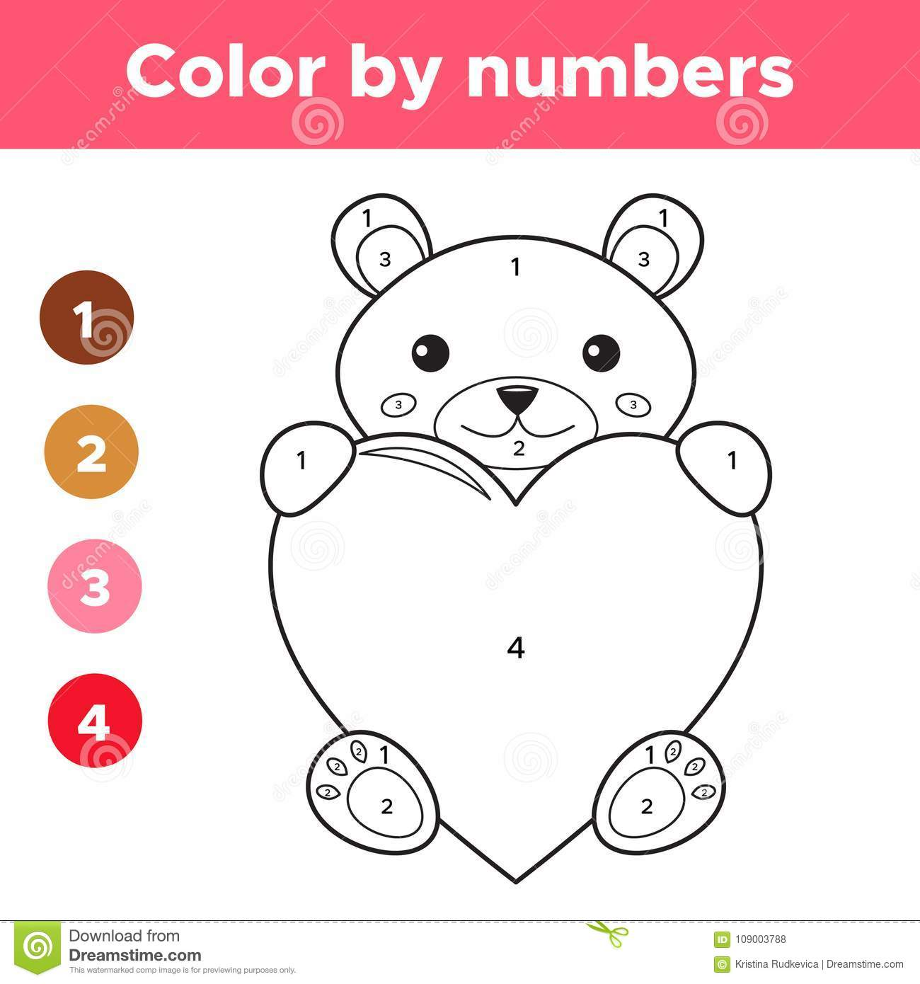 Color By Numbers For Preschool Kids Stock Vector - Illustration of ...
