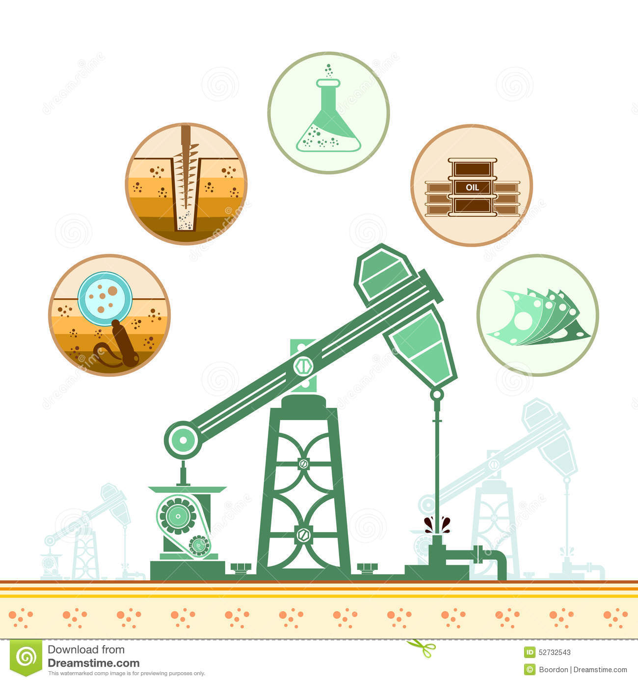 color oil derrick and circle icons with stages of process stock