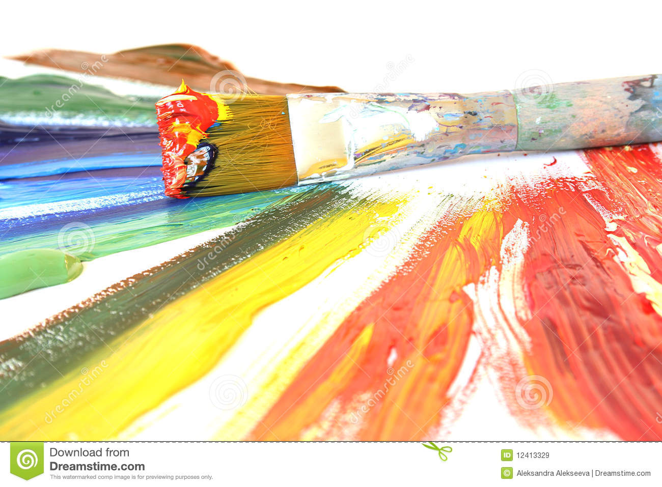 color oil paint and brush stock image image of paint 12413329