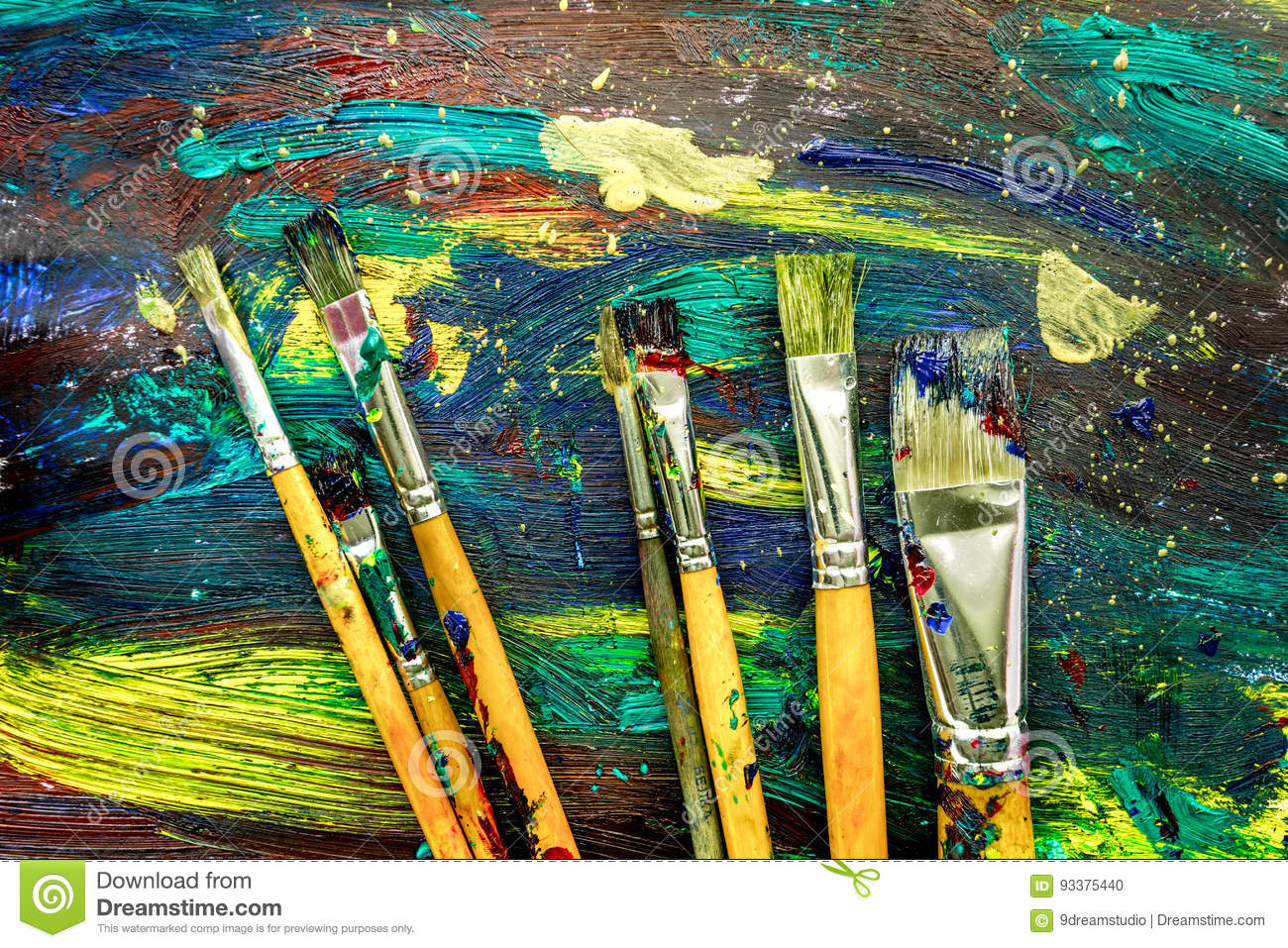 Color oil painting texture with brushes for bright background