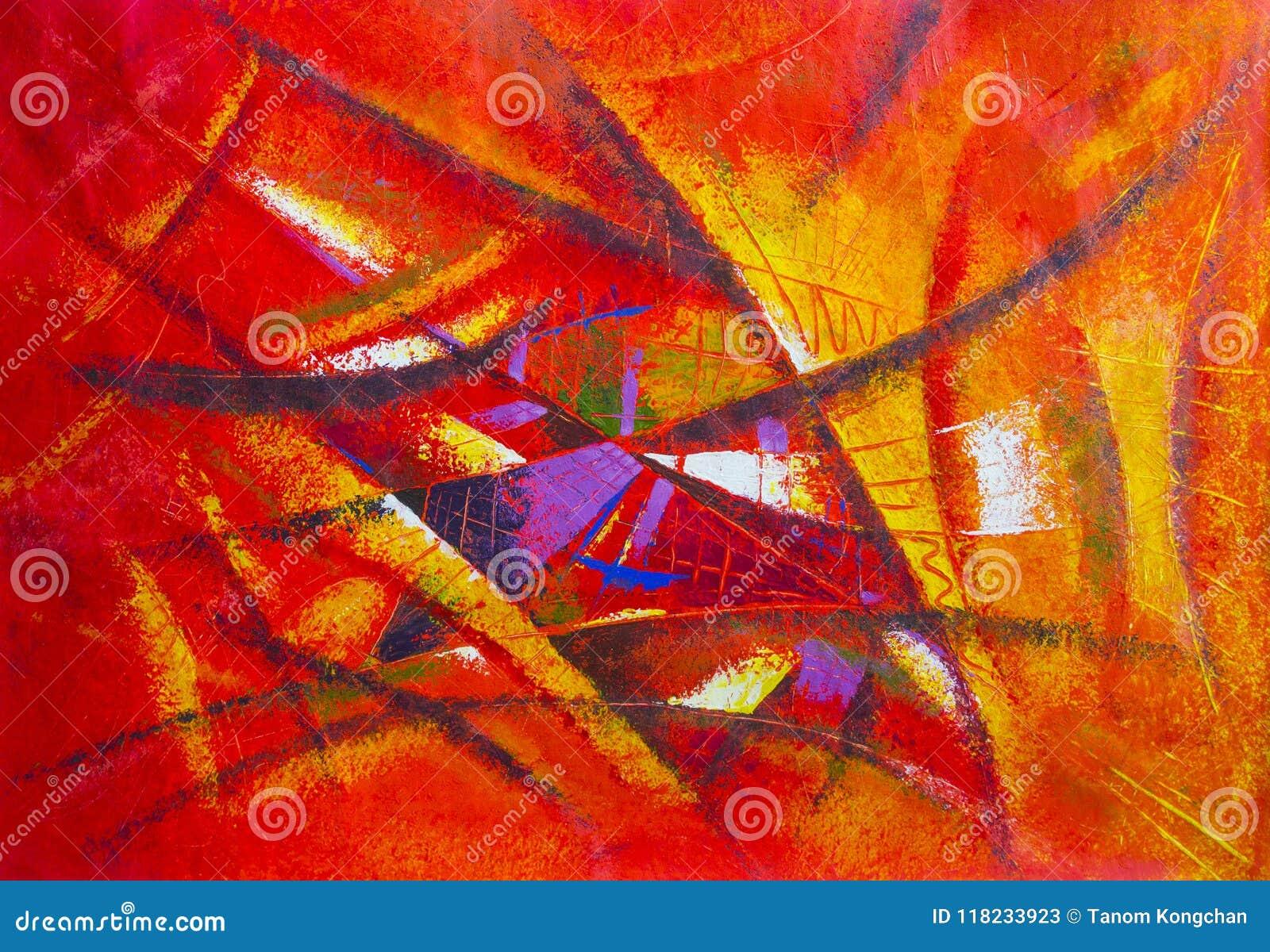 Color original de pintura del aceite y del acrílico del arte abstracto en lona