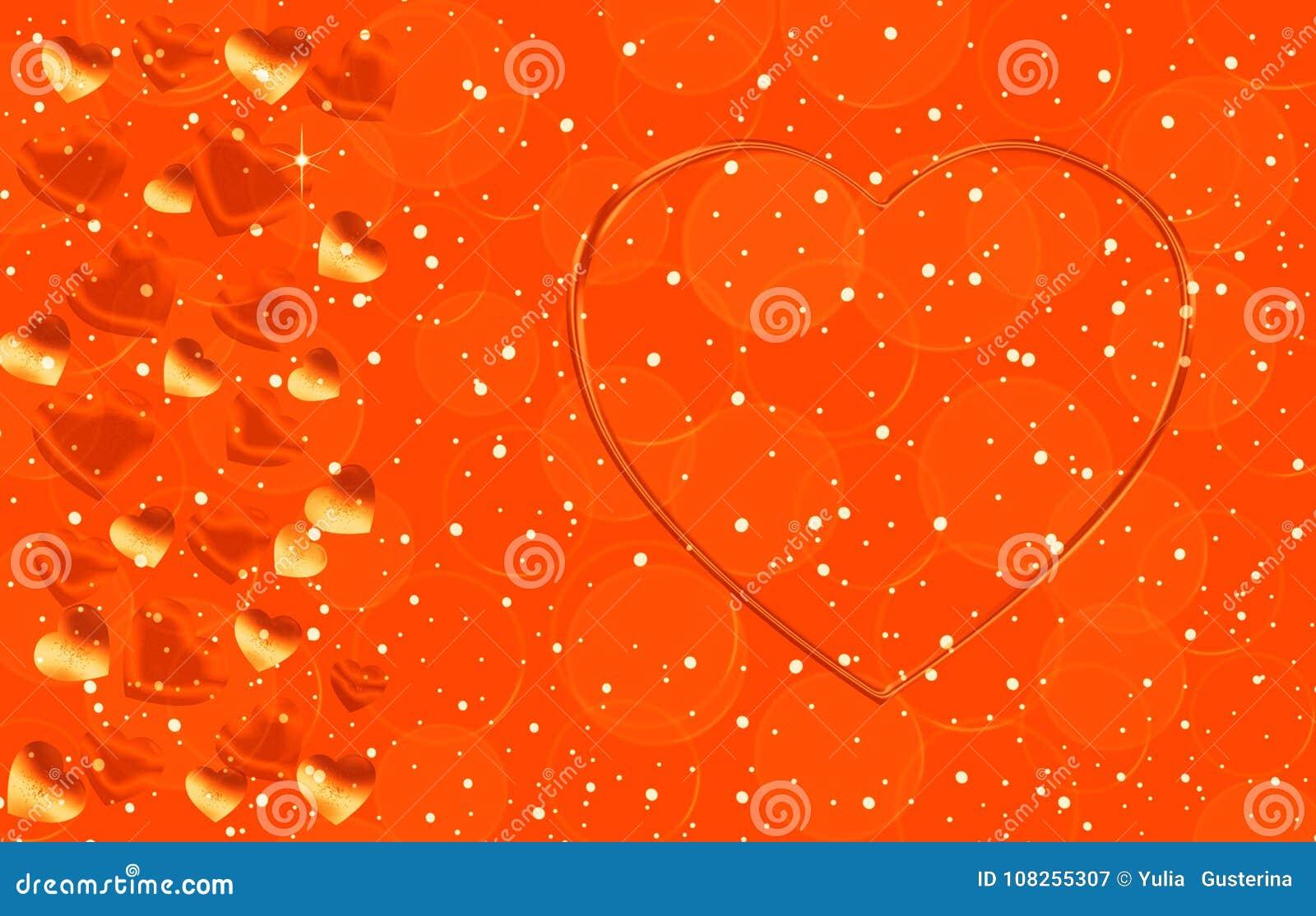 Color oro con los corazones de diversos tamaños
