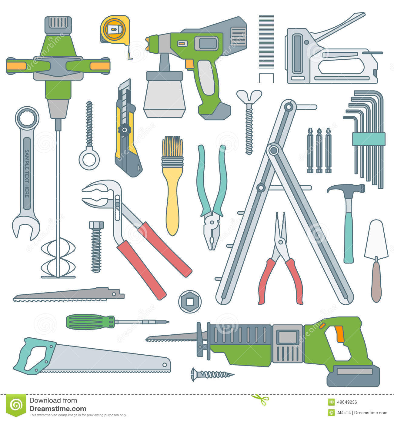 Color outline various house remodel instruments set stock for House remodeling tools