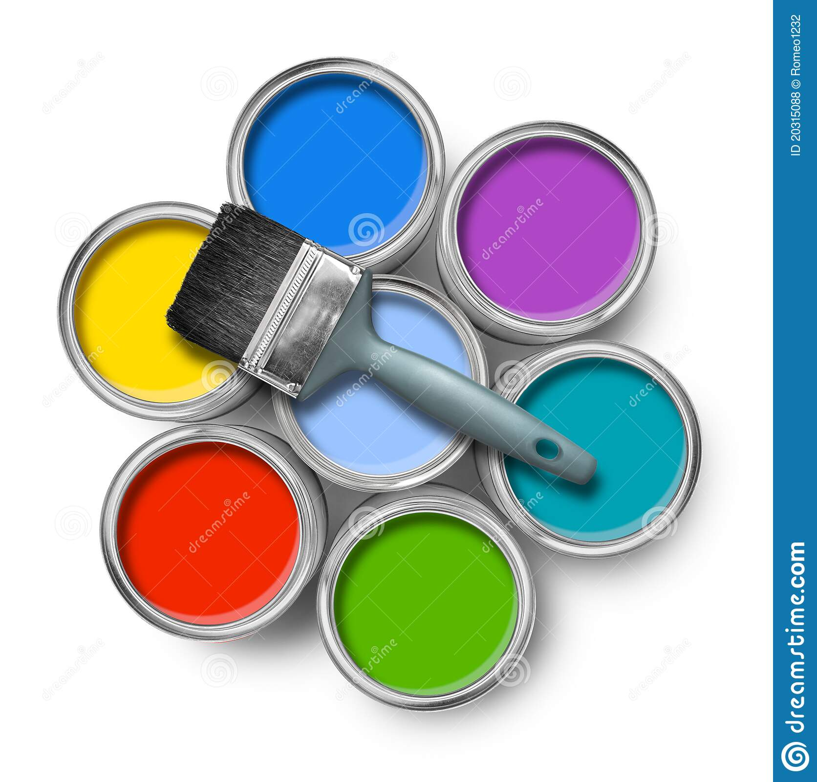 Https Www Dreamstime Com Royalty Free Stock Photos Color Paint Cans Brush Image20315088