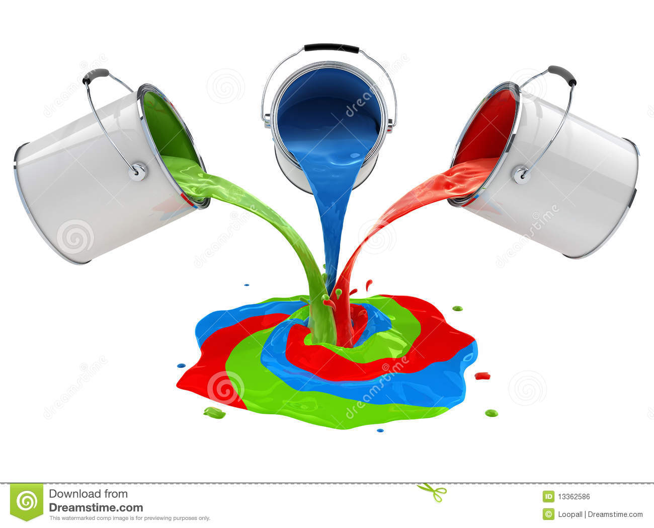 Color paint pouring from buckets and mixing