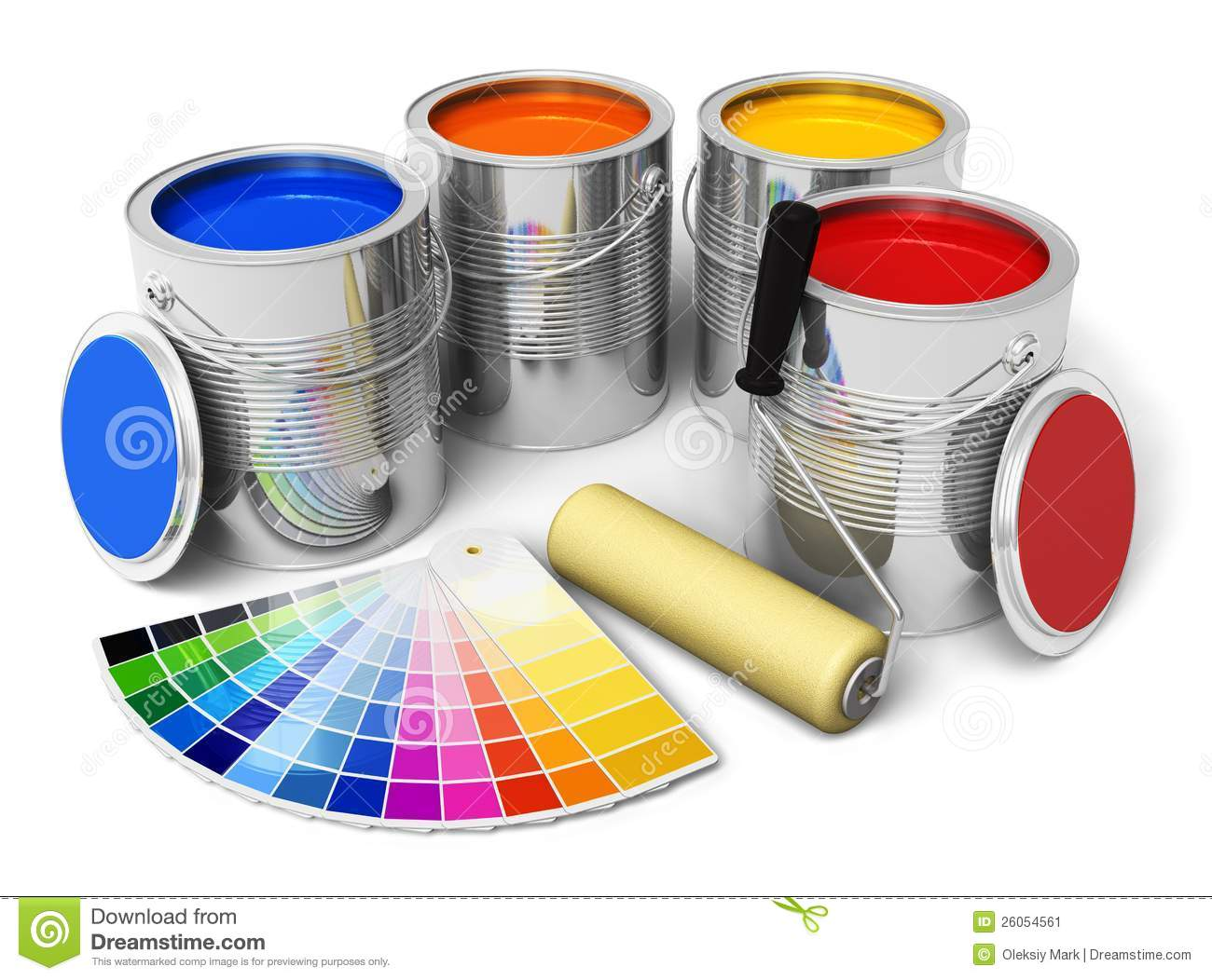 Color paint, roller brush and color guide