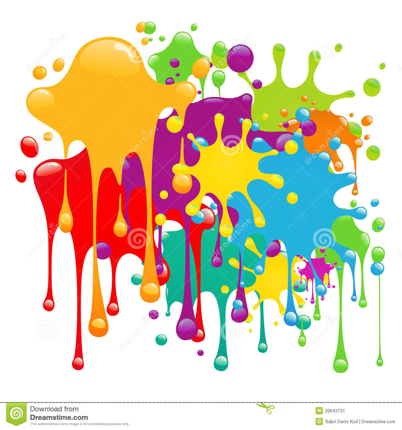 Colorful Paint Splatter Border Color paint splashes design .