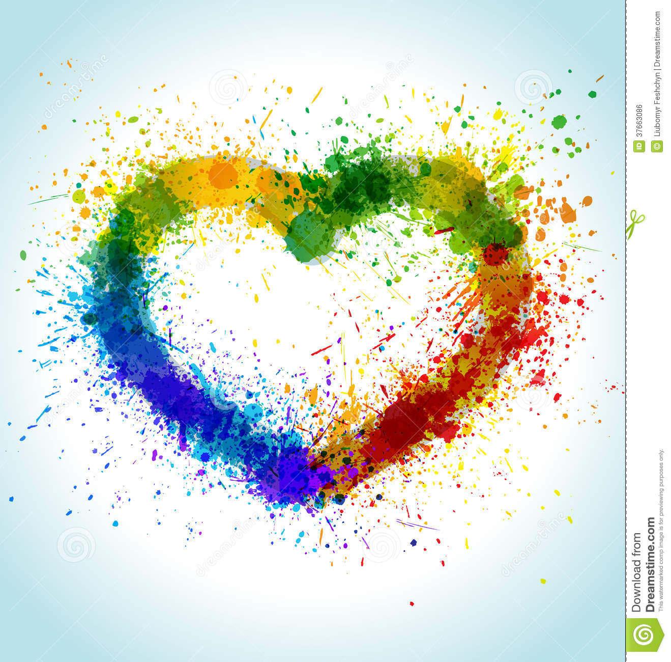 Color Paint Splashes Heart Background Royalty Free Stock Image