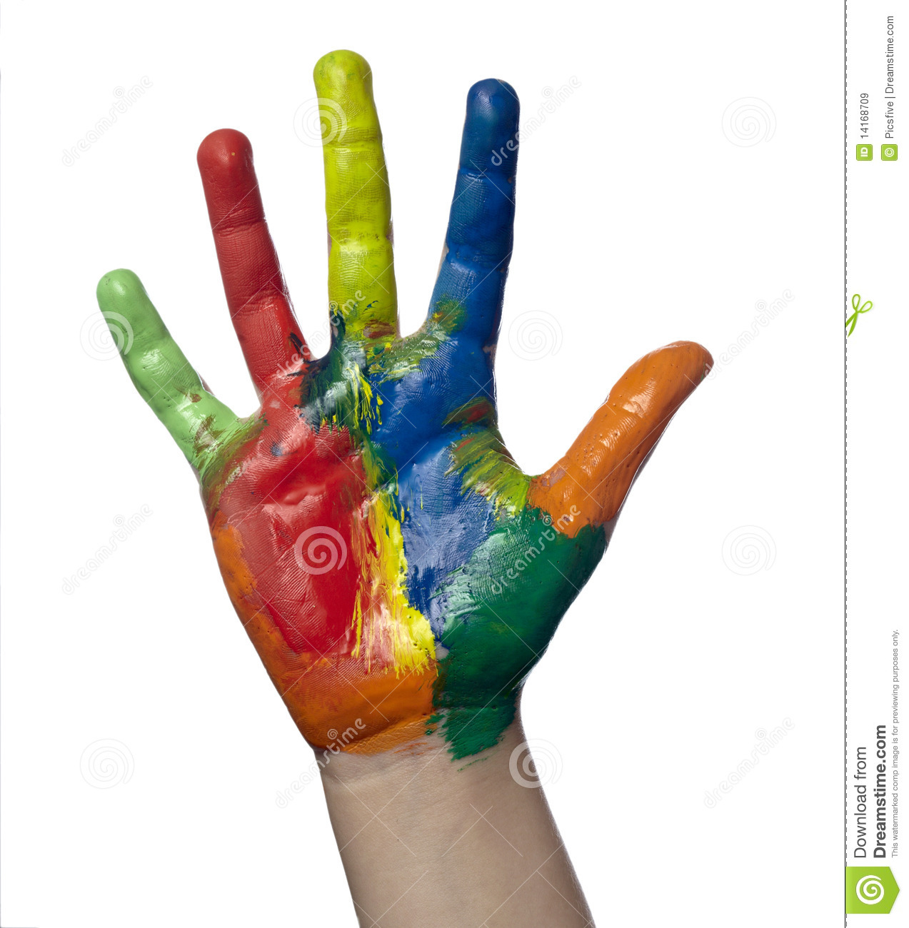 Close up of child hands painted with watercolors, on white background ...