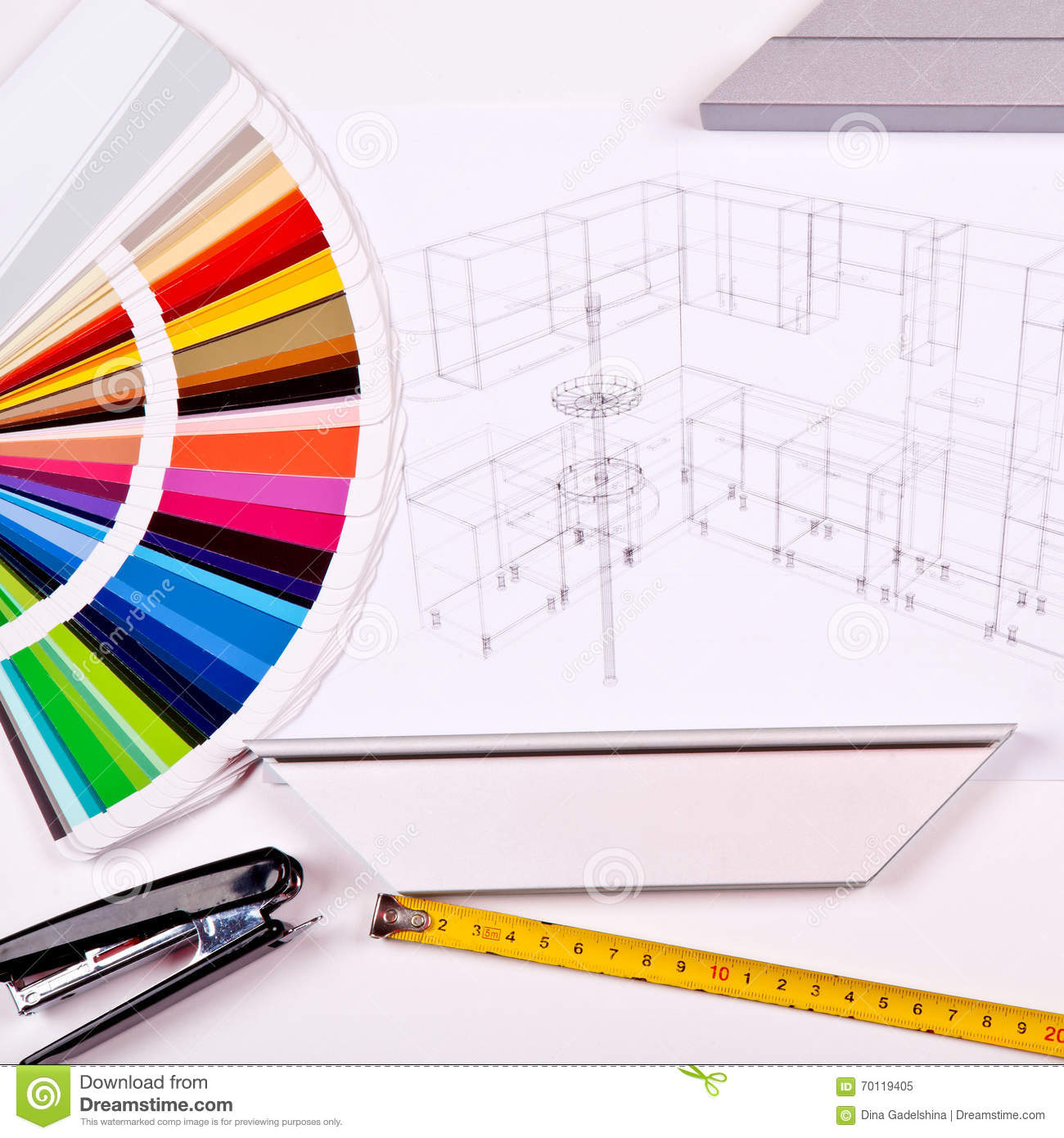 The color palette and the drawing of kitchen design stock for Construction palette