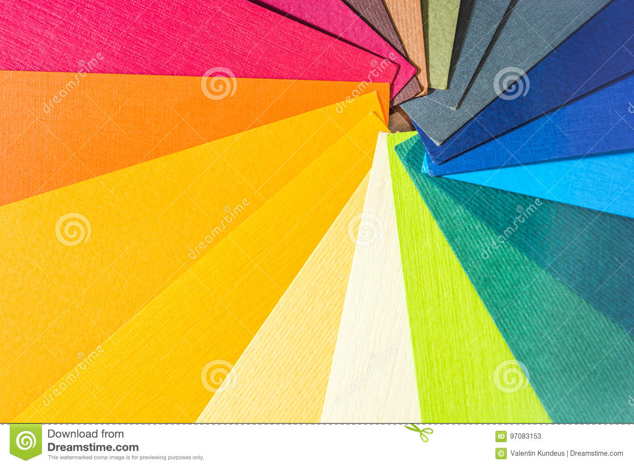 Color palette guide. Colored textured paper samples swatch catalog. Bright and juicy rainbow colors. Beautiful abstract background