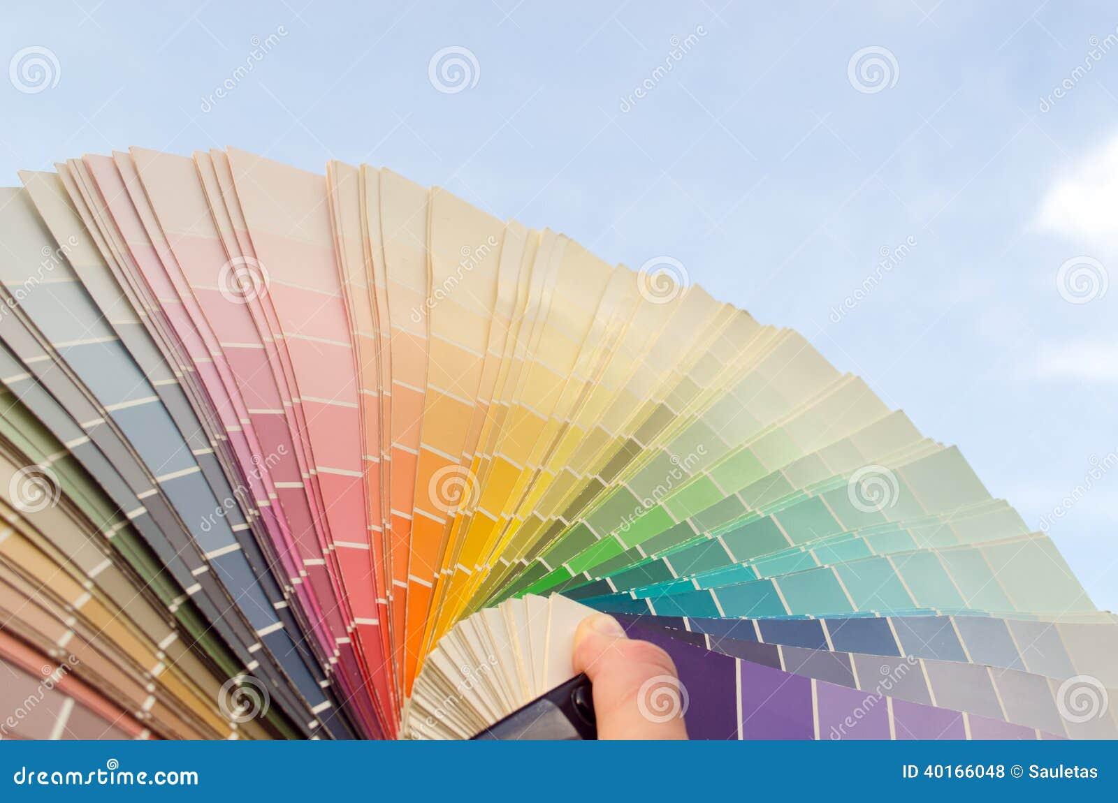 Color palette samples on blue sky background