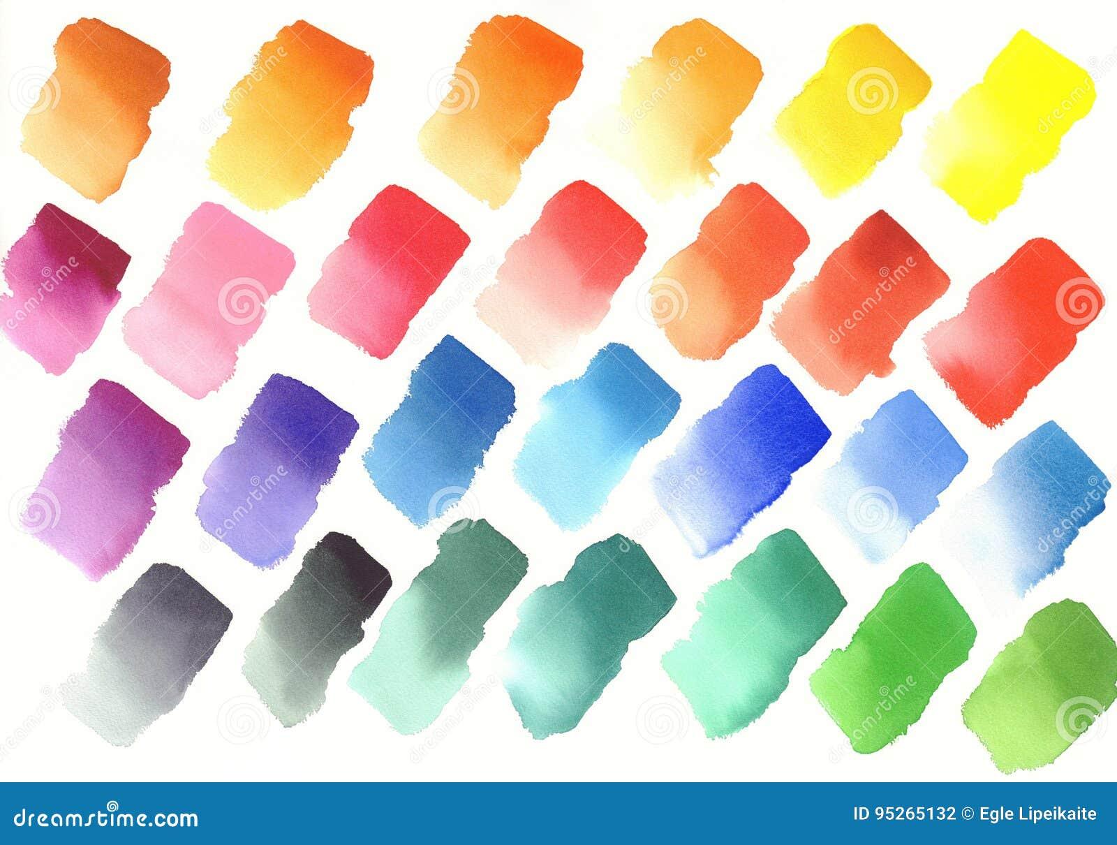 color palette of watercolor paints stock illustration illustration